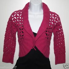BNWT Girls Monsoon Hot Pink Magenta Crochet Flower Smart Cardigan Age 6-8