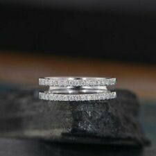 Round Cut Simulated Diamond Half Eternity Ring in 14k White Gold Over