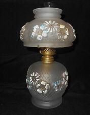 ANTIQUE CONSOLIDATED GLASS SATIN COSMOS MINIATURE OIL LAMP~P&A ACORN BURNER