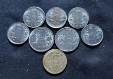 India - Error coin lot - Off center - 8 coins in 1, 2 and 5 Rs - L1