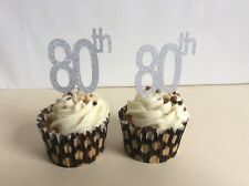 80 th BIRTHDAY GLITTER SILVER CUP CAKE TOPPERS X 12