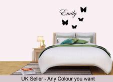 Personalised Name Butterfly Wall Art Custom Girls Bedroom Vinyl Kids Sticker Ew1