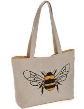 SHOULDER TOTE BAG Applique Linen Bee Design CRAFTS, KNITTING & MORE