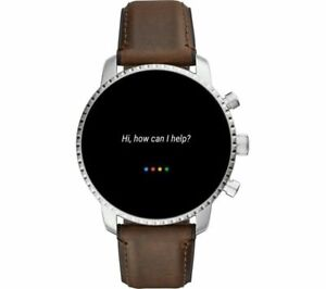 FOSSIL Q Explorist Gen 4 FTW4015 Smartwatch, Silver, Brown Leather Strap *NEW*