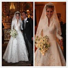 Satin High Neck Royal Bridal Gown A Line Applique Luxury Wedding Dresses Custom
