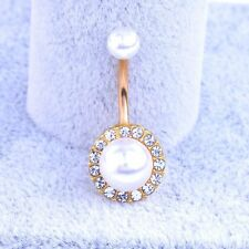Hot Navel Belly Ring Piercing Surgical Diamond Pearl Umbilical Body Jewelry