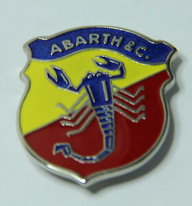 CLASSIC VINTAGE FIAT ABARTH SIDE LOGO EMBLEM LACQUERED METAL BADGE BRAND NEW