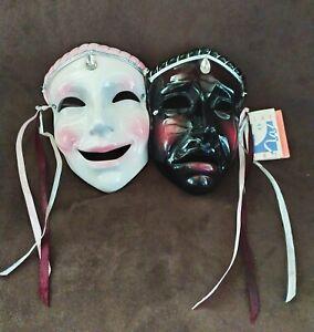 Clay Art masque en céramique 2  visages designer collection Jenny McLain USA