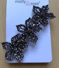 A Beautiful Antique Look Silver Flower Diamanté Metal Barrette Hair Clip