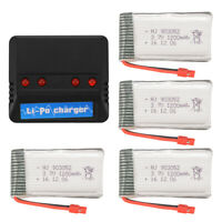 Charger +4pcs 3.7V 1200mAh Lipo Battery + Convert Cable for Syma X5HW X5HC BC671