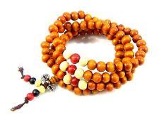 Sandalwood Wooden Beaded Wrap Bracelets Buddha Mala Prayer Beads Necklace Tan