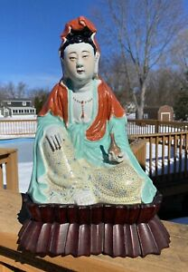 Rare Antique Chinese Porcelain Enameled Figure Statue of Seated Guanyin on Stand