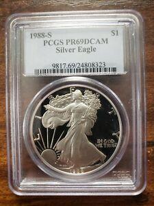 1988-S $1 SILVER EAGLE PCGS PR69DCAM WONDERFUL PROOF 1 TROY OZ COIN!