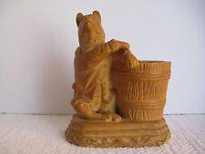 Antique Chalkware Match Holder, Dressed Bear Match Holder, OUTSTANDING!