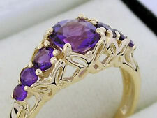 R173- Genuine 9ct Gold NATURAL Intense Purple Amethyst Eternity Ring size P