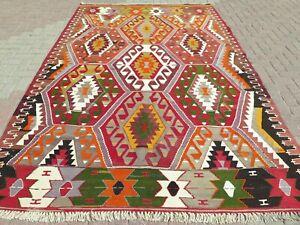 "Vintage Turkish Kilim Rug, Large Rug, Kelim Antique Rug Area Rug Carpet 74""x119"""