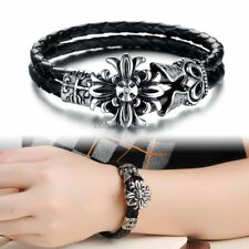 Black Leather Braided Cord Strap Stainless Steel fleur de lis Cross Bracelet