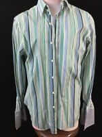 Tasso Ella long sleeve shirt Size M striped blue green fitted Mens french cuffs