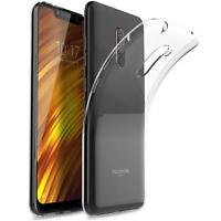 For Xiaomi Pocophone F1 Case Clear Slim Gel Cover And Glass Screen Protector