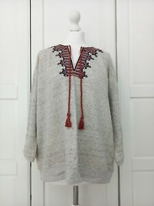 Whistles Grey Tassel Embroidered Sweatshirt Cotton Blend Oversized Jumper Medium