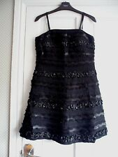 ASOS- Gothic Black  Lace & BROCADE.  Silk Ribbon  Fit & Flare Dress size 10