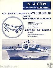 Bateaux - Publicité SONABEL - Klaxon - Avertisseurs Sonores - 1964