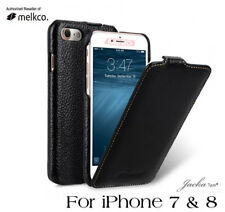 Melkco negro hecho a mano nueva Real Cuero Abatible Delantero caso para Apple iPhone 7 8