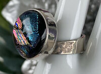 Sterling Silver DICHROIC fused Glass Ring  Size 7