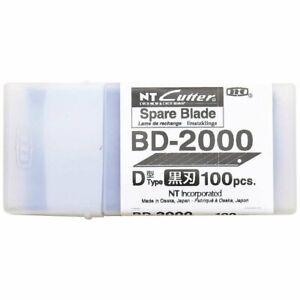 NT Cutter 9mm Snap Off Precision 30 Degree Black Blades 100 Blade BD-2000 Japan