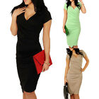 Wear To Work Womens Short Sleeve V-Neck Bodycon Pencil Dress Cocktail Party 6-16