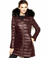 Calvin Klein Faux-Fur-Trimmed Hooded Packable Down Coat in Chianti  XS
