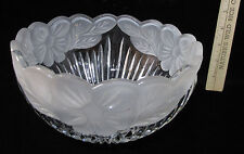 Crystal Glass Serving Bowl Frosted Flower Poppy Poppies Floral Salad Fruit