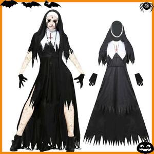 Damen Halloween Kostüm Zombie Nonnen Kleid Gothic Kleider Cosplay Outfits Party