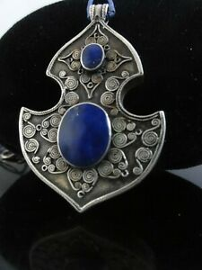 ANTIQUE 925 STERLING SILVER LAPIS LAZULI HAND MADE LARGE PENDANT AWESOME