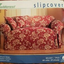 Vintage Sure Fit Loveseat One-Piece Design Loveseat Slipcover Melody Spice