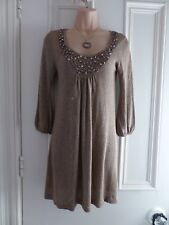 Lovely M&S Autograph size 8 thin knit gold jumper dress with beaded neckline