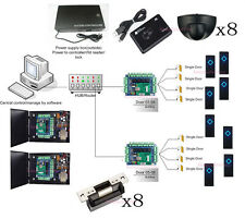 8 Door Swipe Card Entry System Kit Exit Motion Sensor ANSI Strike Lock Power Box