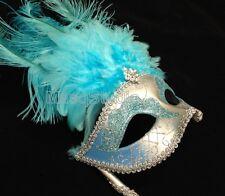 Turquoise Aqua Light Blue Stick Masquerade Mardi Gras dance party Feather Mask