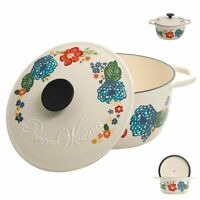 3 Quart Enameled Cast Iron Dutch Oven with Lid Floral Kitchen Cooking Cookware