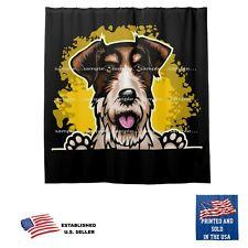 Wire Fox Terrier Dog Splash On Black Bathroom Fabric USA Shower Curtain