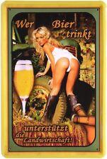 Wer Bier trinkt! Sexy Girl Retro Blechschild 20x30 cm Reklame Metallschild 310