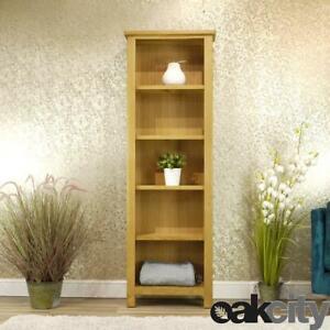 Milan Oak Bookcase   Tall Narrow Bookshelf   Rustic Medium Wood Tone