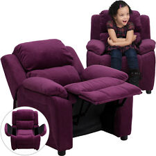 Flash Purple Microfiber Kids Recliner with Storage Arms BT-7985-KID-MIC-PUR-GG