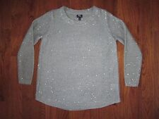 RAFAELLA GRAY SPARKLY SEQUIN ACCENT SWEATER SCOOP HEM POLY/ACRYLIC SZ LARGE NWT