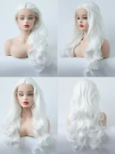 "24"" Snow white Women Lace Front Wig Long Curly Wavy Synthetic Fiber Hair"
