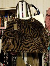"B. Makowsky Faux Fur Shoulder Bag ~ Tiger Print ~ Leather Trim ~ 16""x 12.5""x 6"""