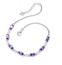 "8"" Women Girl Sterling Silver Purple Amethyst Cubic Zirconia Chain Bracelet G16"