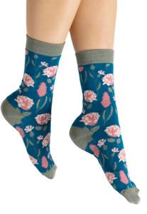 Ladies Bamboo Socks Botanical Flowers Design , Floral Teal 4-7 Miss Sparrow