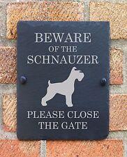 BEWARE OF THE DOG SLATE PLAQUE SIGN SCHNAUZER