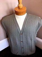 New NWT Pringle Merino Wool Mens M-2X Olive/Grey Cardigan Sweater Vest